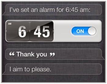 Setting one's alarm with Siri