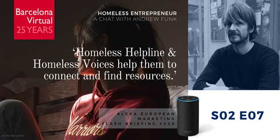 """Homeless Helpline and Homeless Voices help them to connect and find resources."" · Andrew Funk. founder of Homeless Entrepreneur"