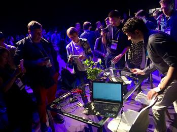 "Photo: #4YFN19 Alessandro Volpato ""listens"" to a plant before a rapt audience"