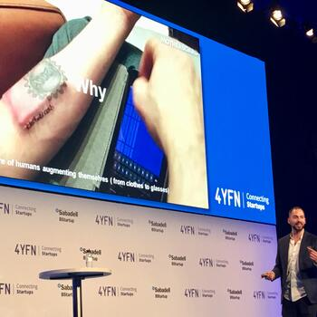 "Photo: #4YFN19 Alex Rodríguez of the World Economic Forum hosts the session ""Biohacking Onstage: Live Human Chip Implant Show"""