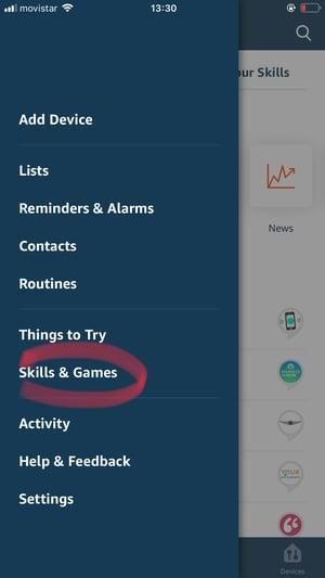 Screenshot: Choose Skills & Games from the main menu of the Alexa mobile app.