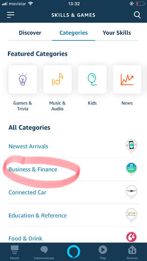 Screenshot: Find the Barcelona Virtual Skill in the Business & Finance category.